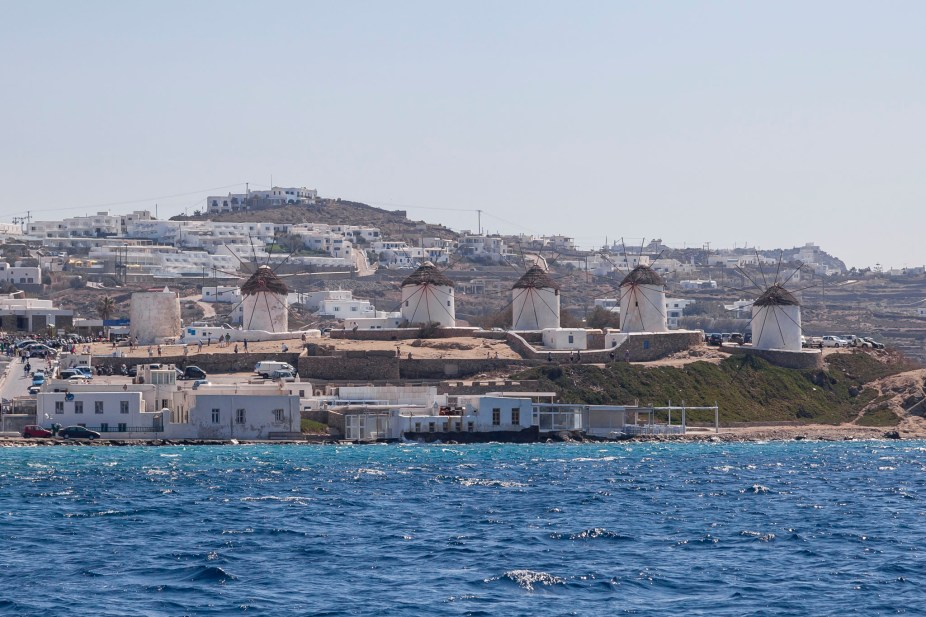 Mykonos Windmills From The Sea