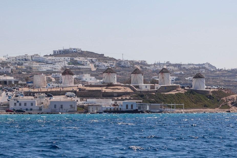 Mykonos Windmills From The Sea