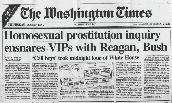 in 1989 the washington times ran a front page article that stated that call boys as young as 15 years old took midnight tours of the white house