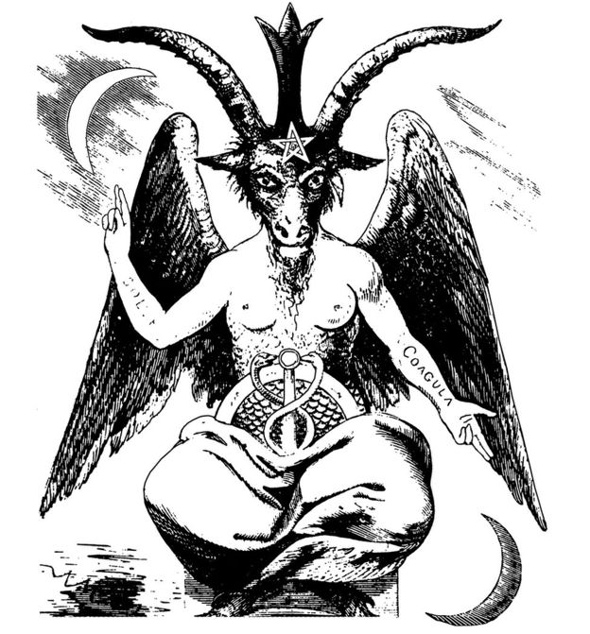 the satanic costume seems to depict a winged hermaphrodite known as baphomet