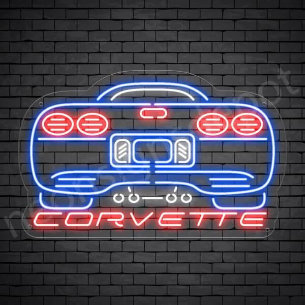 Corvette Rear Neon Sign - Transparent
