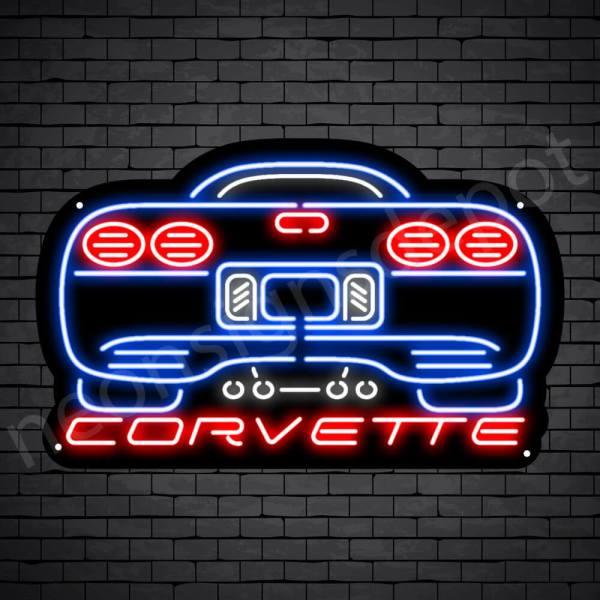 Corvette Rear Neon Sign - Black