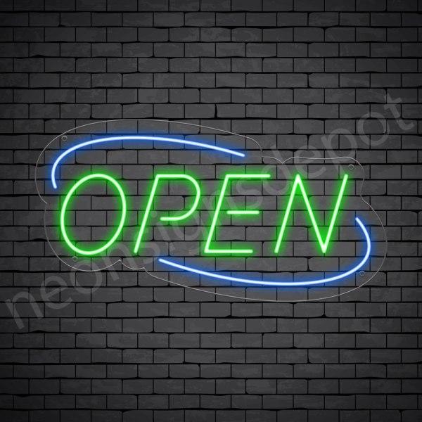 Deco Open Neon Sign Green Blue