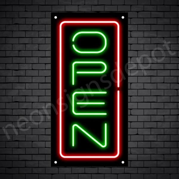 Vertical neon open sign green-red black bg