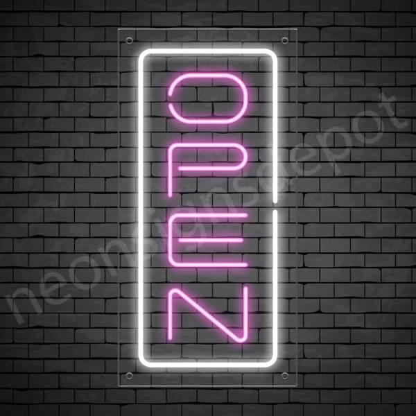 Vertical neon open sign pink-white transparent bg