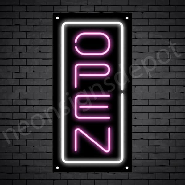 Vertical neon open sign pink-white black bg