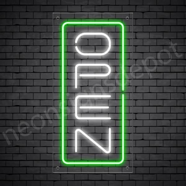 Vertical neon open sign white-green transparent bg