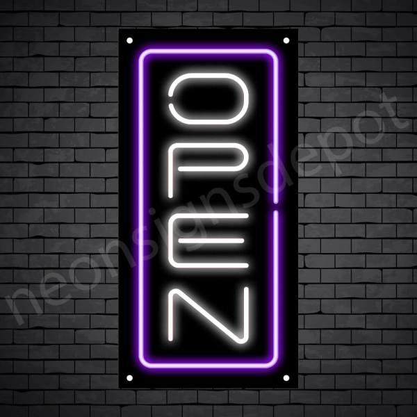 Vertical neon open sign white-purple black bg