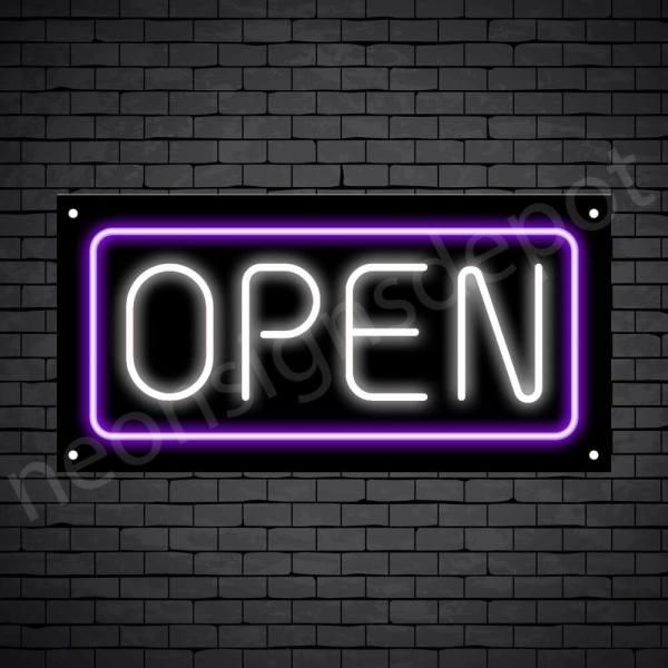 horizontal open neon sign - black back WHITE,PURPLE