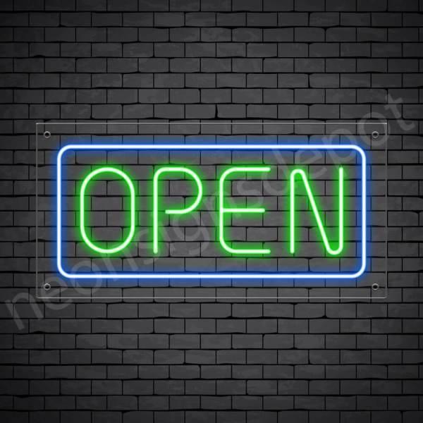 horizontal open neon sign - transparent back GREEN,BLUE--