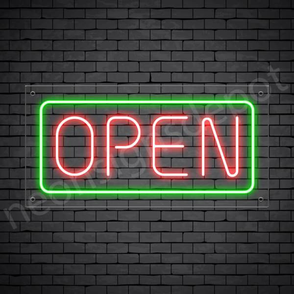horizontal open neon sign - transparent back RED,GREEN--