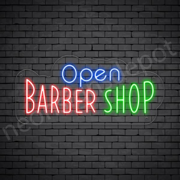 Barber Neon Sign Open Barber Shop Transparent - 24x14