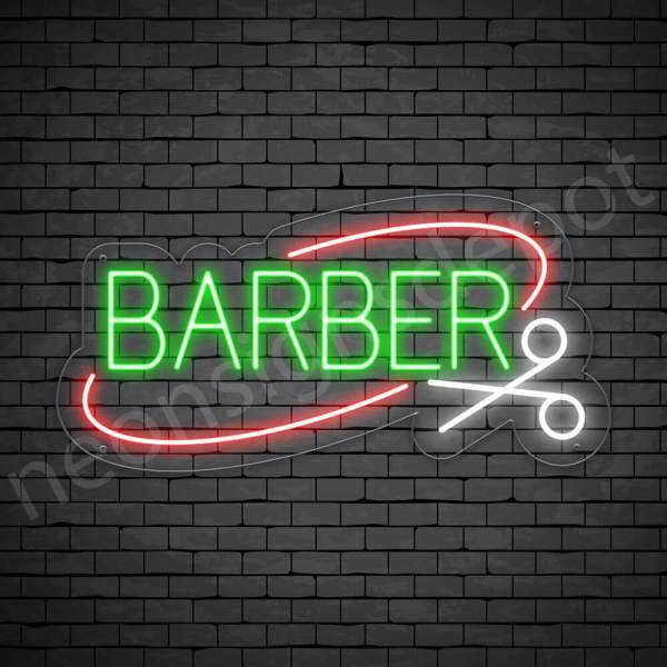 Barber Neon Sign Barber Cut Open - Transparent