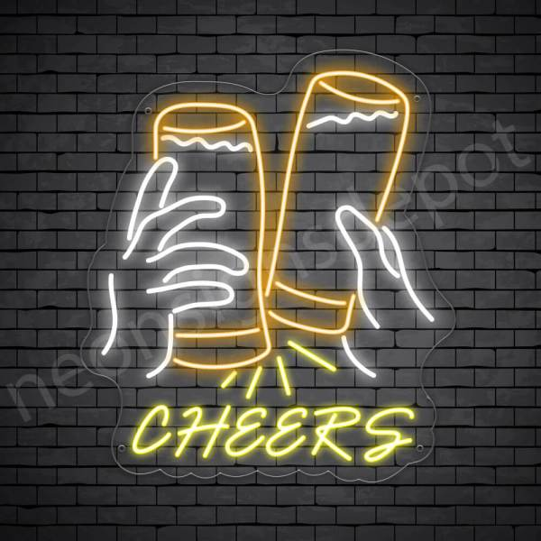 Beer Neon Sign Cheers Two Glasses Transparent - 26x30