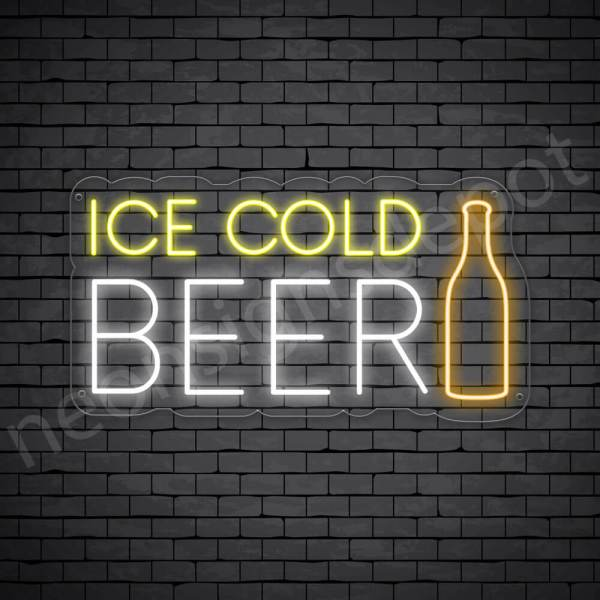 Beer Neon Sign Ice Cold Beer Bottle - Transparent