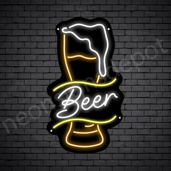 Beer Neon Sign Retro Full Beer Black - 14x24