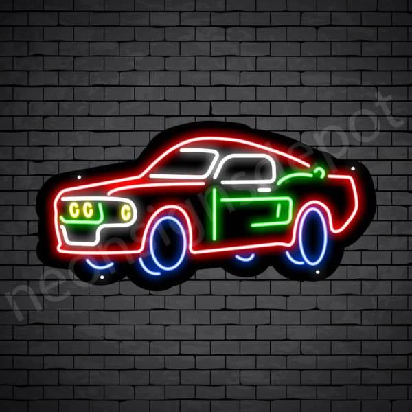 Car Neon Sign Classic Auto Car Black - 24x12