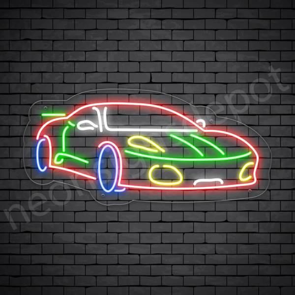 Car Neon Sign Ferrari Transparent - 24x11
