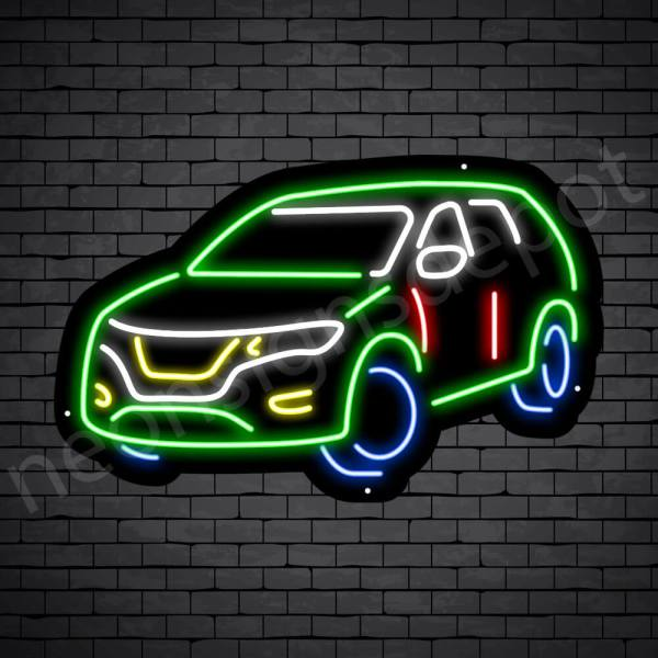 Car Neon Sign SUV Car - black