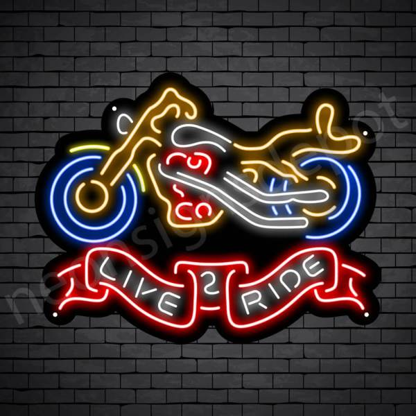 Motorcycle Neon Bar Sign - Black