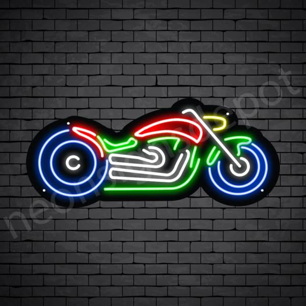 Motorcycle Neon Sign Bike Style Black - 24x11