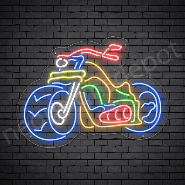 Motorcycle Neon Sign Motor Ride Transparent 24x18