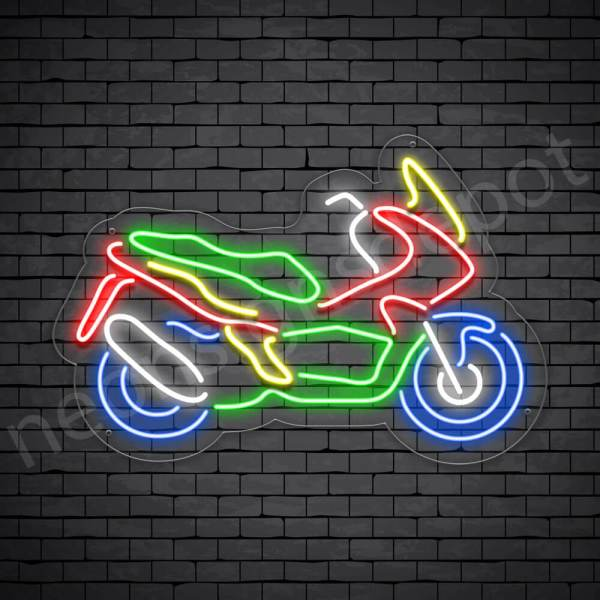 Motorcycle Neon Sign Motor Style Transparent - 24x16