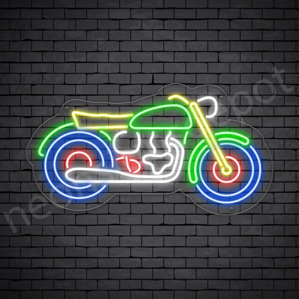 Motorcycle Neon Sign Motor Old Transparent - 24x13