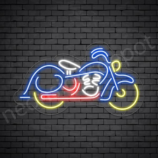 Motorcycle Yellow Neon Sign - Transparent