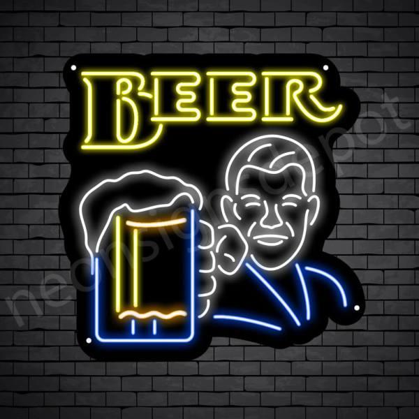 Man Holding Beer Glass Neon Bar Sign - Black