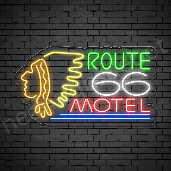 Route 66 Motel Neon Sign - Transparent