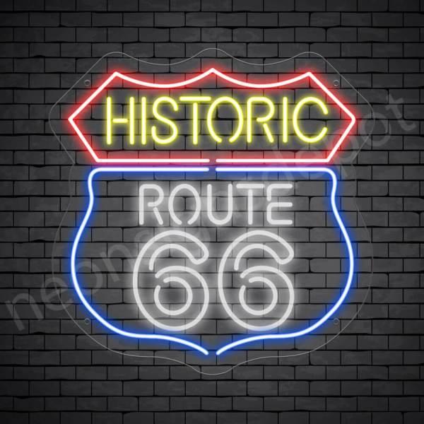 Route 66 Bar Neon Sign - Transparent