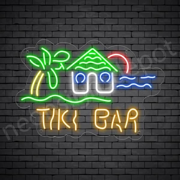 Tiki Bar Hut Neon Bar Sign - Transparent