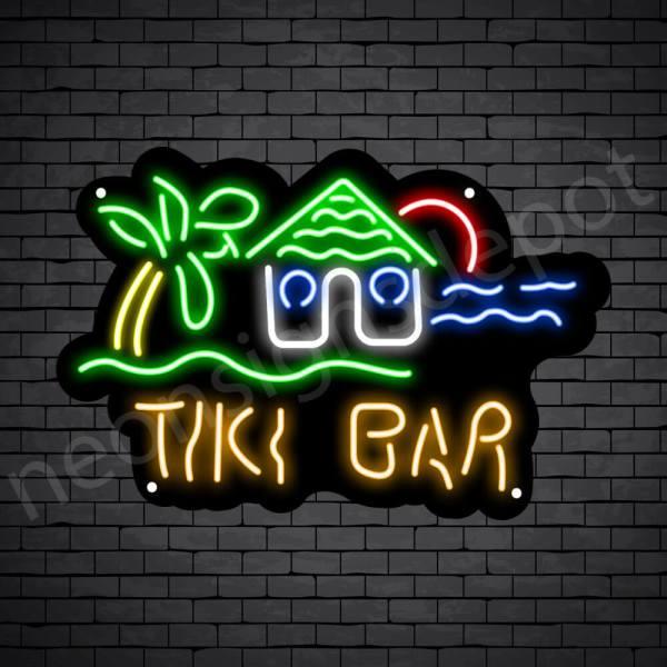 Tiki Bar Hut Neon Bar Sign - Black