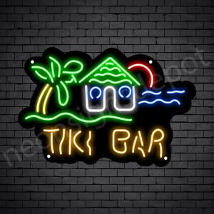 Tiki Bar Hut Neon Bar Sign - Black