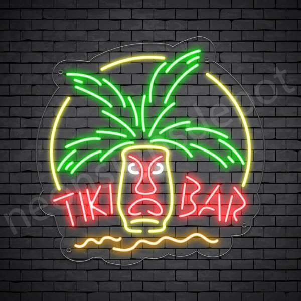 Tiki Bar Mask Neon Bar Sign - Transparent