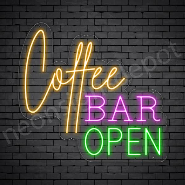 Coffee Neon Sign Coffee Bar Open Transparent 24x22