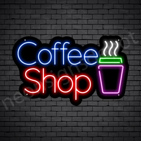 Coffee Neon Sign Coffee Shop Black 24x14