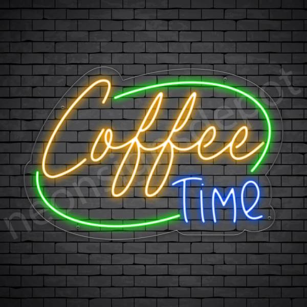 Coffee Neon Sign Coffee Time Transparent 24x16