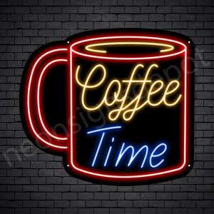 Coffee Neon Sign Coffee Time Mug Black 24x22