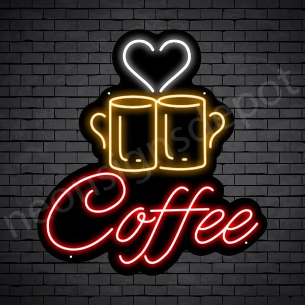 Coffee Neon Sign Couple Mug Coffee Black 22x24