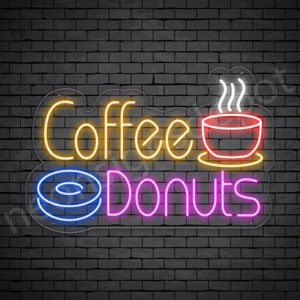Coffee Neon Sign Hot Coffee & Donuts Transparent 24x16