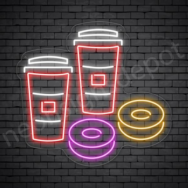 Coffee Neon Sign Iced Coffee & Donuts Transparent 24x22