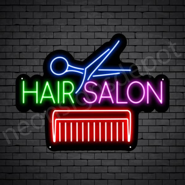 Hair Salon Neon Sign Comb & Scissor Hair Salon Black 24x18