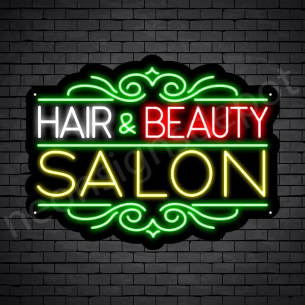 Hair Salon Neon Sign Hair & Beauty Black 24x18