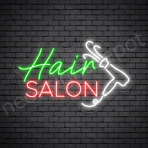 Hair Salon Neon Sign Hair Salon Blower Transparent 24x15