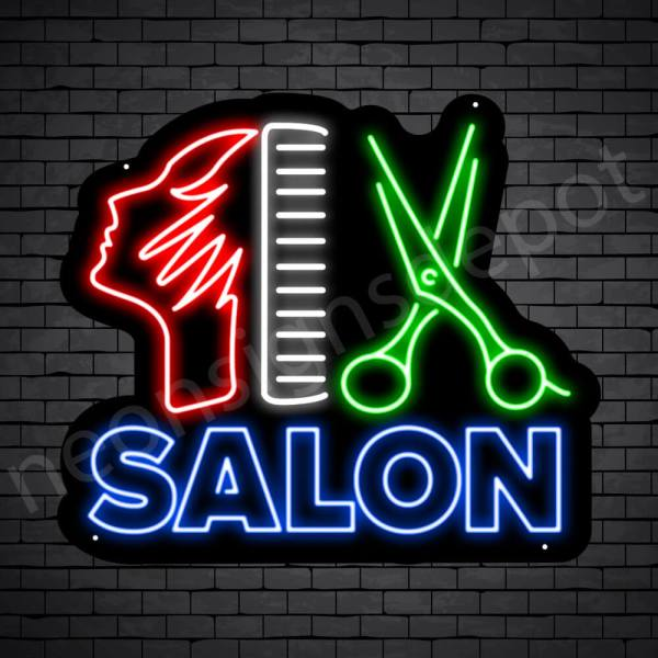 Hair Salon Neon Sign Hair Salon Women Scissor & Comb Black 24x21