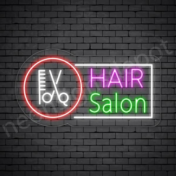 Hair Salon Neon Sign Hair Salon Tools transparent - 24x13