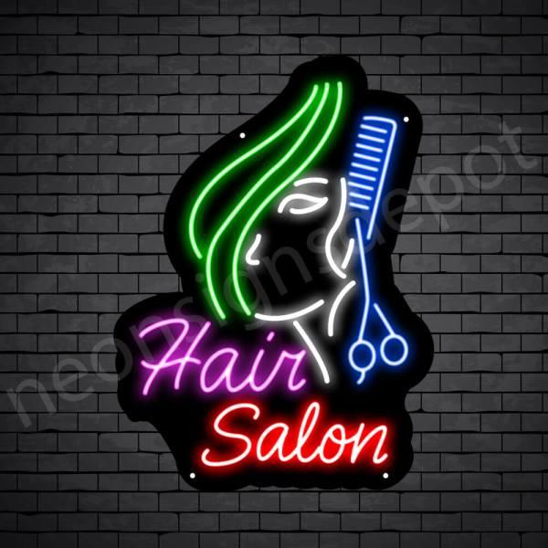 Hair Salon Neon Sign Hair Salon Women Long Hair Black - 18x24