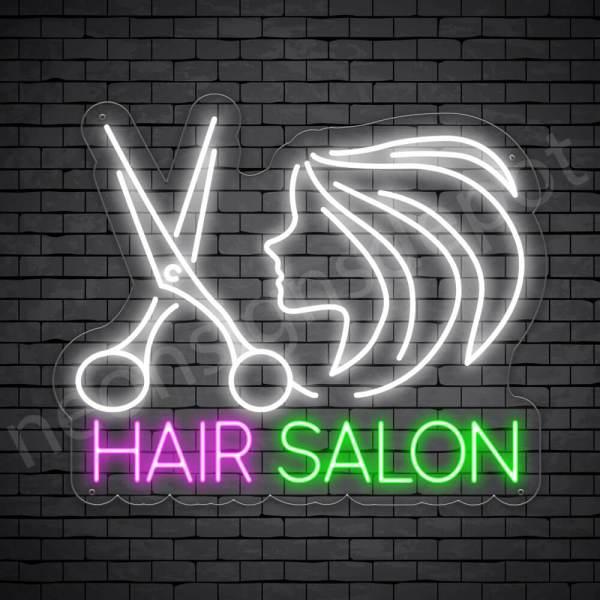 Hair Salon Neon Sign Scissor Women Hair Salon Transparent - 24x20